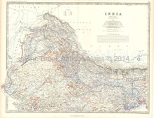 Northern India Antique Map Johnston 1861