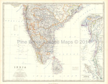 Southern India Antique Map Johnston 1861