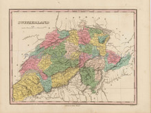 Switzerland Schweiz Antique Map Finley 1824