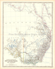 South Australia Antique Map Johnston 1861