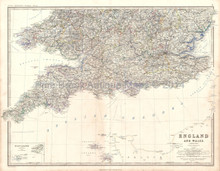 England Wales South Antique Map Johnston 1864