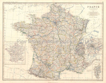 France Antique Map Johnston 1864