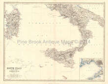 Italy South Antique Map Johnston 1864