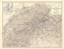 Switzerland Alps Antique Map Johnston 1864