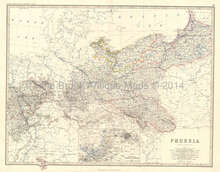 Prussia Antique Map Johnston 1864