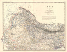 Northern India Antique Map Johnston 1864