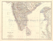 Southern India Antique Map Johnston 1864