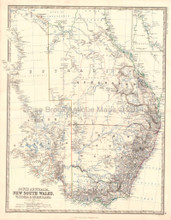 South Australia Antique Map Johnston 1864