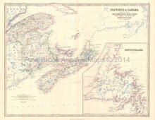 Eastern Canada Antique Map Johnston 1864