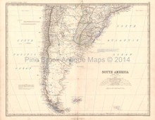Southern South America Antique Map Johnston 1864