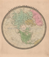 Northern Hemisphere Antique Map Greenleaf 1844