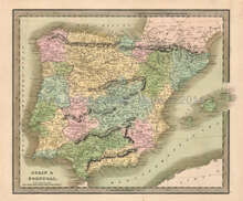 Spain Portugal Antique Map Greenleaf 1844