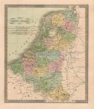 Belgium Holland Antique Map Greenleaf 1844