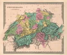 Switzerland Antique Map Greenleaf 1844