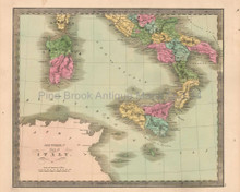 Southern Italy Antique Map Greenleaf 1844