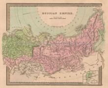 Russian Empire Antique Map Greenleaf 1844