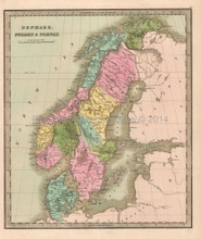 Denmark Sweden Norway Antique Map Greenleaf 1844