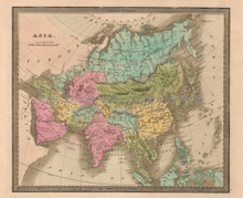Asia Antique Map Greenleaf 1844