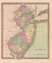 New Jersey Antique Map Greenleaf 1844