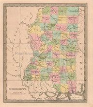 Mississippi Antique Map Greenleaf 1844
