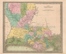 Louisiana Antique Map Greenleaf 1844