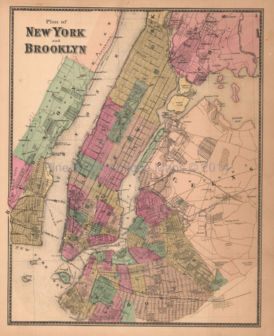 New York City Brooklyn Antique Map Beers Pine Brook Antique Maps - Antique maps nyc