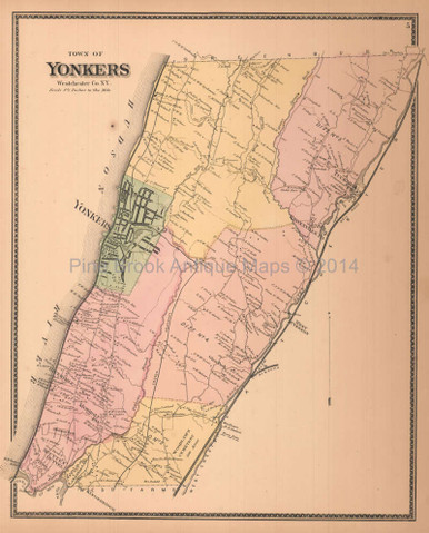 Town of Yonkers New York Antique Map Beers 1867 Pine Brook Antique