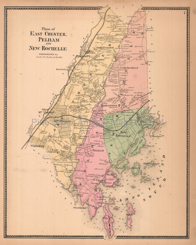 East Chester Pelham New Rochelle New York Antique Map Beers 1867