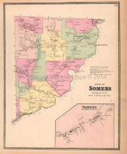 Town of Somers New York Antique Map Beers 1867