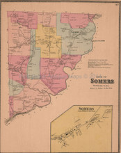 Town of Somers New York Antique Map Beers 1868