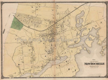 Plan of New Rochelle New York Antique Map Beers 1867