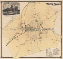 White Plains New York Antique Map Beers 1868