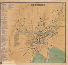 Port Chester New York Antique Map Beers 1868