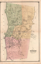 Plan of Yonkers New York Antique Map Beers 1867