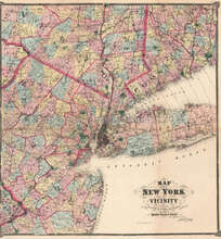 New York and Vicinity New York Antique Map Beers 1867