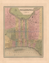 Philadelphia Antique Map Bradford 1838
