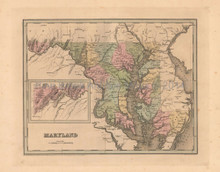 Maryland Antique Map Bradford 1838