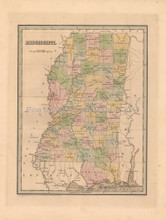 Mississippi Antique Map Bradford 1838