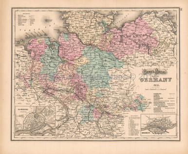 Northern Germany Antique Map Gray 1873 Pine Brook Antique Maps
