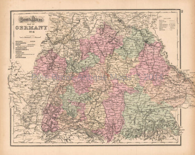 Southern Germany Antique Map Gray 1873 Pine Brook Antique Maps