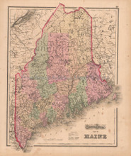 Maine Vermont New Hampshire Antique Map Gray 1873