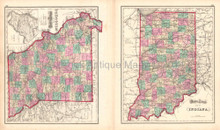 Illinois Indiana Antique Map Gray 1873