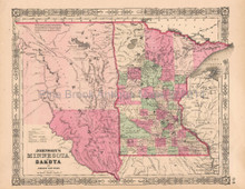 Minnesota Dakota Vintage Map Johnson 1864