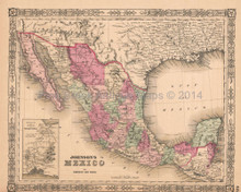 Mexico Vintage Map Johnson 1864