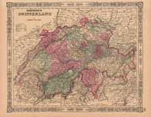 Switzerland Vintage Map Johnson 1864