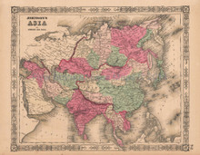 Asia Vintage Map Johnson 1864
