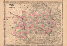 Iowa Nebraska Vintage Map Johnson 1864