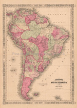 South America Vintage Map Johnson 1864
