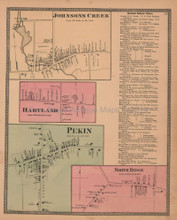 Hartland Johnsons Creek New York Antique Map Beers 1875