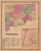 Town of Pendleton New York Antique Map Beers 1875